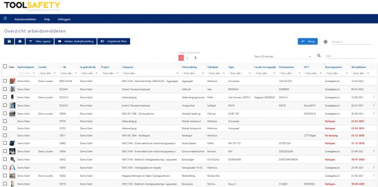 overzicht arbeidsmiddelen ToolSafety Portal